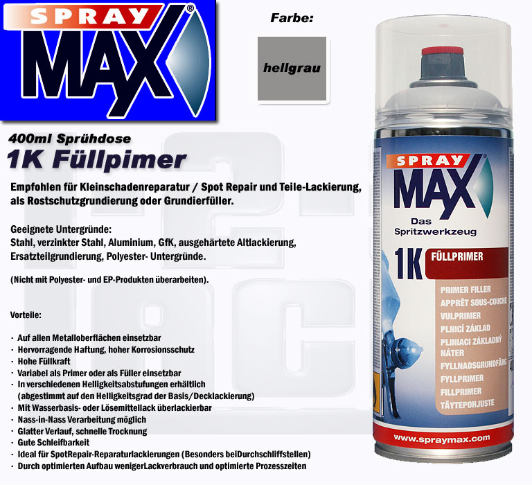 f llprimer spraydose spraymax 1k primer spr hdose f ller hellgrau 680003. Black Bedroom Furniture Sets. Home Design Ideas