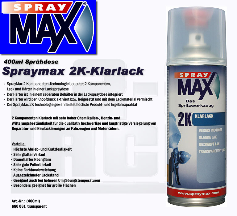 klarlack spraydose spraymax 400ml spr hdose 2k inkl h rter spot repair lackspray ebay. Black Bedroom Furniture Sets. Home Design Ideas